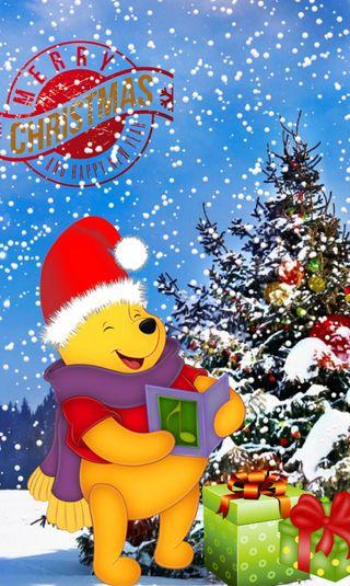 Обои на телефон пух, счастливое, рождество, подарок, мультфильмы, зима, винни, winnie pooh