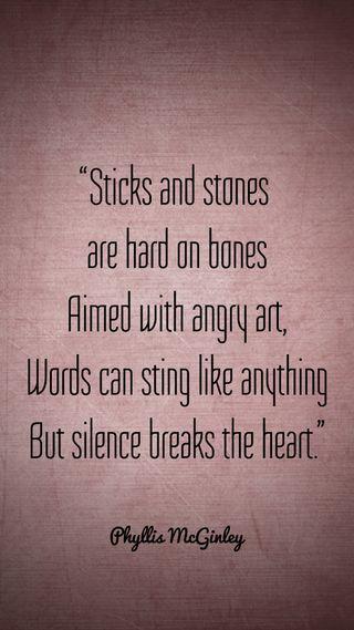 Обои на телефон тишина, цитата, слово, сердце, камни, злость, sticks, silence breaks heart, break