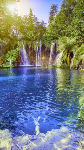 Обои на телефон водопад, природа, прекрасные, падает, озеро, деревья, вода
