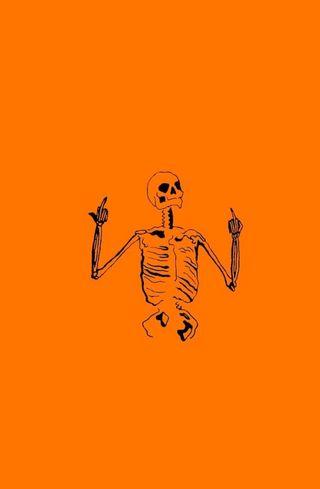 Обои на телефон палец, эстетические, хэллоуин, средний, скелет, осень, оранжевые, грубый, ninjapickles, middle finger skelly, halloween aesthetic, flip off