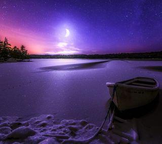 Обои на телефон лодки, озеро, ночь, луна, зима