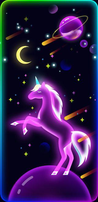Обои на телефон единорог, светящиеся, неоновые, космос, unicorn spaceglow