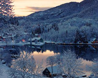 Обои на телефон озеро, зима