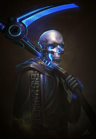 Обои на телефон жнец, череп, технология, скелет, неоновые