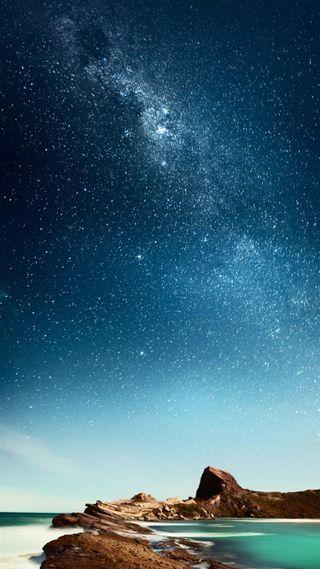 Обои на телефон природа, ночь, небо, море, звезды, звезда