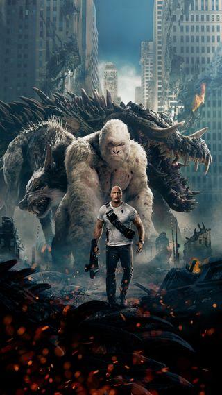 Обои на телефон фильмы, динозавр, город, горилла, герой, война, rampage, 2018