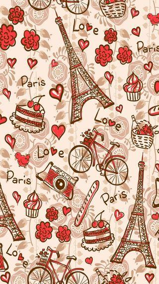 Обои на телефон эйфелева башня, башня, шаблон, цветы, сердце, париж