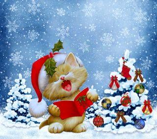Обои на телефон снежинки, счастливое, рождество, песня, котята, зима, дерево
