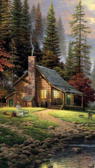 Обои на телефон чилл, релакс, картина, дом, арт, oil painting, art