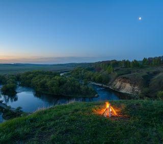 Обои на телефон природа, пейзаж, огонь, лагерь, закат, 2015