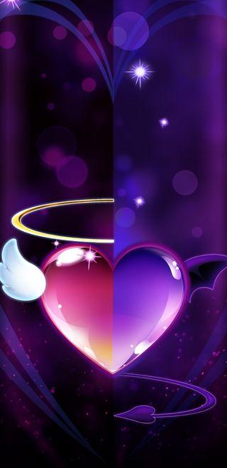 Обои на телефон фиолетовые, симпатичные, сердце, сверкающие, розовые, крылья, дьявол, девчачие, ангел, halo, angelvsdevil