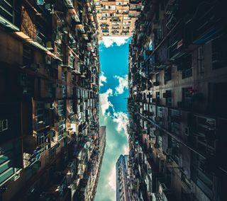 Обои на телефон сони, самсунг, новый, небо, здания, вид, андроид, up, sony, samsung, lg, android