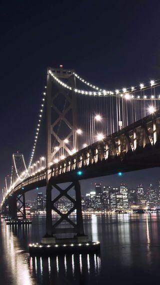 Обои на телефон мост, огни, ночь