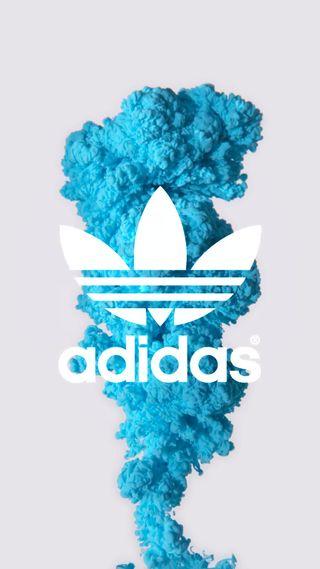 Обои на телефон чернила, дым, синие, адидас, adidas