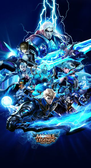 Обои на телефон мобильный, синие, легенды, алукард, tigreal, gusion, bruno, blue mobile legends