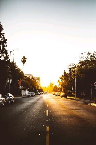 Обои на телефон восход, утро, туман, солнце, свет, машины, закат, грани, los angeles sunset