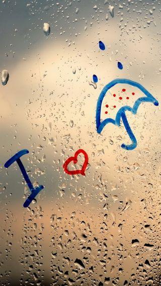 Обои на телефон окно, стекло, любовь, капли, дождь, love, i love rain