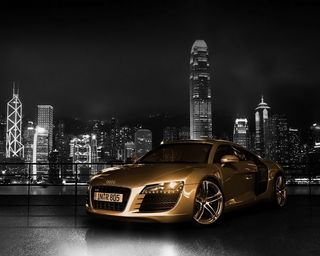Обои на телефон транспорт, темные, ночь, машины, золотые, город, ауди, r8, hd, fast, audi