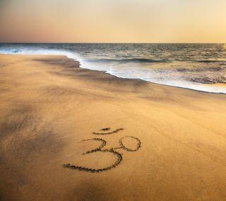 Обои на телефон символ, пляж, песок, ом, океан, море, индийские, закат, om symbol, brahma