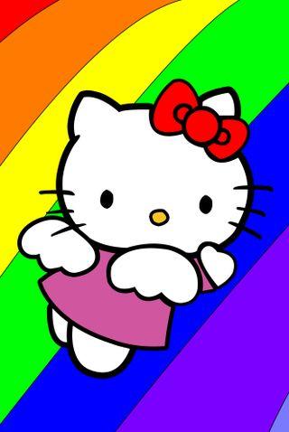Обои на телефон радуга, привет, летать, крылья, кошки, котята, ангел, hello