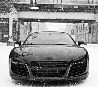 Обои на телефон ауди, черные, снег, v10, hyper black, audi r8