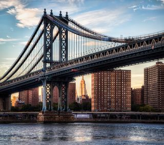 Обои на телефон нью йорк, новый, мост, манхэттен, город, ny