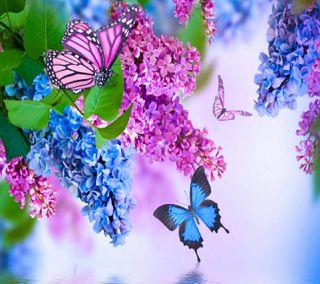 Обои на телефон сад, цветы, приятные, природа, водопад, бабочки