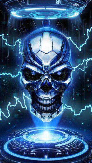 Обои на телефон технология, череп, синие, гром