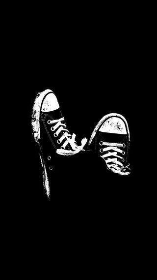 Обои на телефон черные, новый, минимализм, крутые, кроссовки, конверсы, белые, амолед, kicks, hd, amoled, 929