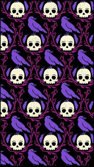 Обои на телефон ужасные, шаблон, черные, череп, хэллоуин, фиолетовые, темы, дизайн, вороны, crows