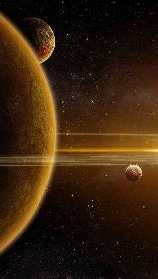Обои на телефон солнечный, темные, система, планеты, луна, космос, желтые, два, вселенная, solar two