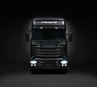 Обои на телефон scania, streamline, v8, черные, грузовик, швеция