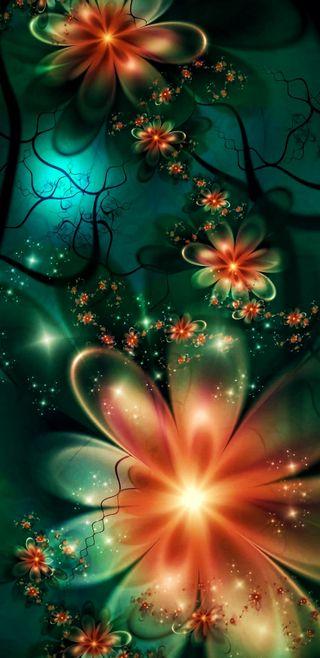 Обои на телефон фантастические, цветы, фрактал, мечта, лотус, красочные, космос, зеленые, арт, абстрактные, green orient, art