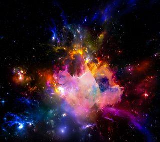 Обои на телефон туманность, цветные, космос, звезды, галактика, арт, абстрактные, galaxy, art