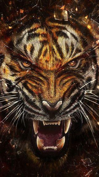 Обои на телефон цифровое, тигр, животные