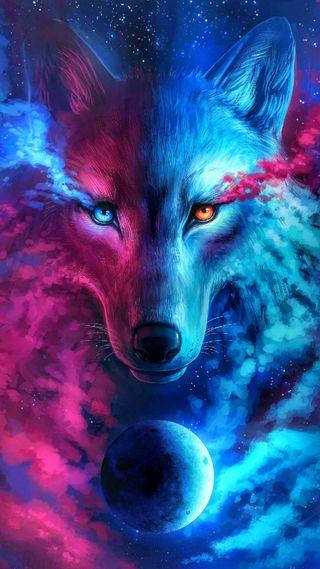 Обои на телефон цветные, новый, синие, розовые, одинокий, красые, галактика, волк, белые, galaxy