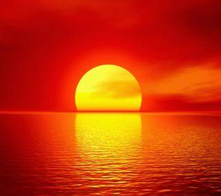 Обои на телефон оранжевые, солнце, океан, облака, небо, море, закат, orange ocean