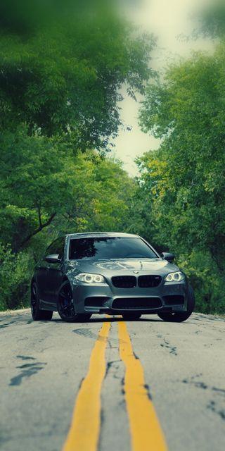 Обои на телефон серые, седан, машины, м5, дорога, деревья, бмв, автомобили, m power, f10, bmw