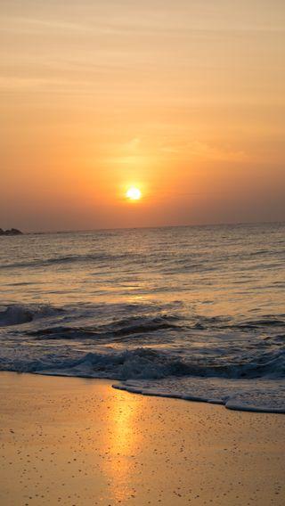 Обои на телефон шри ланка, утро, солнце, пляж, небо, море, восход, волны, aj