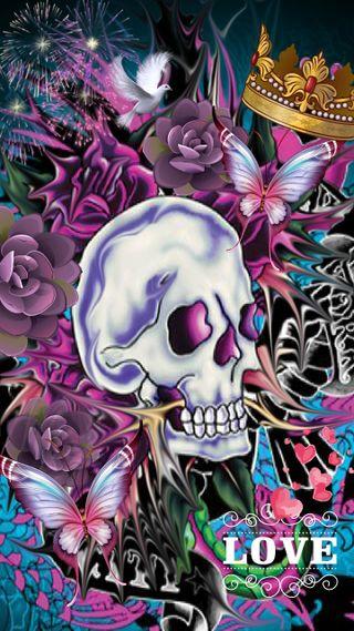 Обои на телефон сахар, череп, мертвый, любовь, корона, день, бабочки, rambler, love