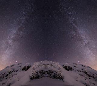Обои на телефон эпл, ночь, звезды, горы, галактика, айфон, mac, iphone, ios, galaxy, apple