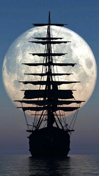 Обои на телефон силуэт, пираты, океаны, корабли, океан, луна, ship and moon, sails, sail