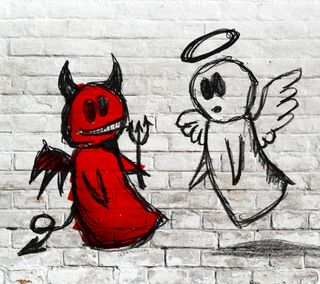 Обои на телефон стена, рисунки, против, плохой, кирпичи, зло, белые, ангел, good, bad
