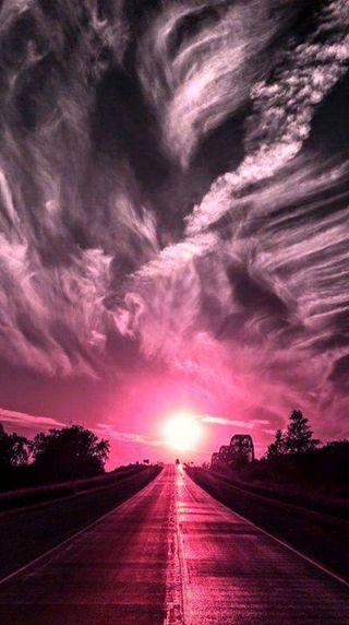 Обои на телефон розовые, пейзаж, закат, дорога