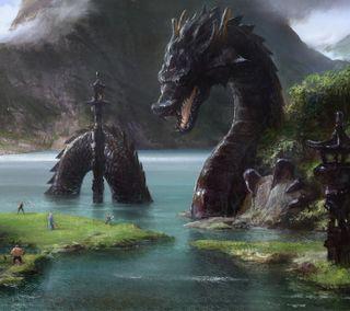 Обои на телефон змея, река, змеевидный, дрейк, дракон, горы, вода, dragon