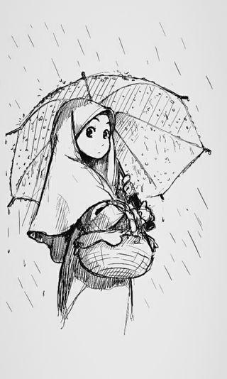 Обои на телефон хиджаб, капли дождя, исламские, дождь, девушки, амбрелла, the umbrella girl, moeslim
