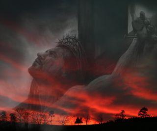 Обои на телефон настроение, христианские, религия, крест, исус, закат, вечер