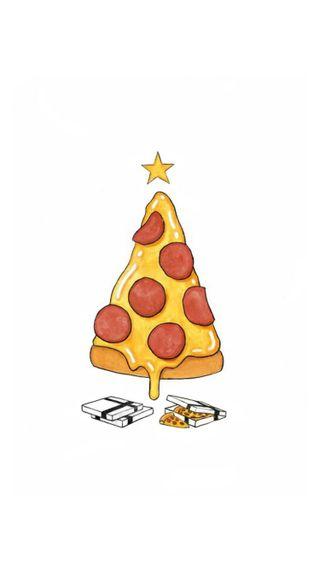 Обои на телефон рождество, пицца