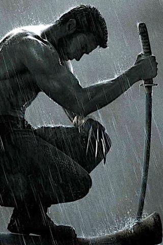 Обои на телефон росомаха, оружие, меч, люди, когти, дождь