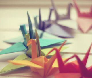Обои на телефон бумага, красочные, paper cranes